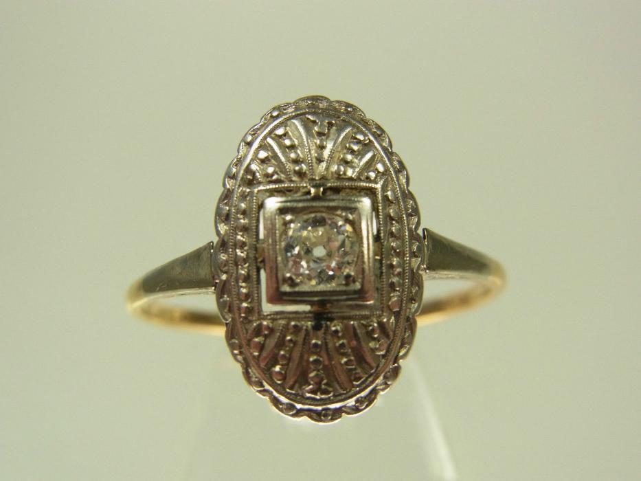 Inel Art Deco Aur 18k Montura Platina Si Diamant reducere