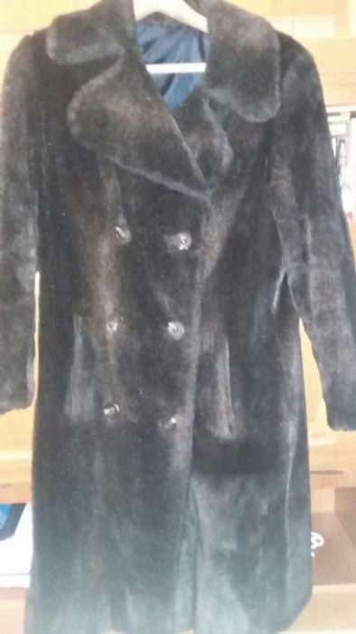 Haina de dama din blana artificiala de culoare maro inchis