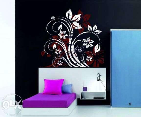 Flori in doua culori -stickere decorative