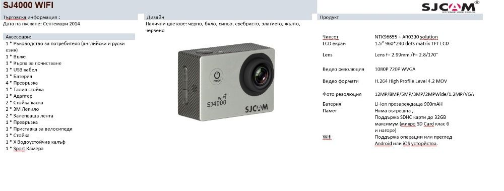 Оригинална екшън камера SJCAM SJ4000 wifi