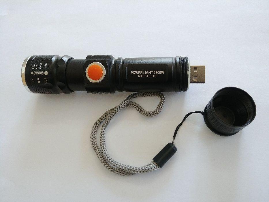 Lanterna LED 3W CREE Q5 metalica reincarcabila USB cu acumulator