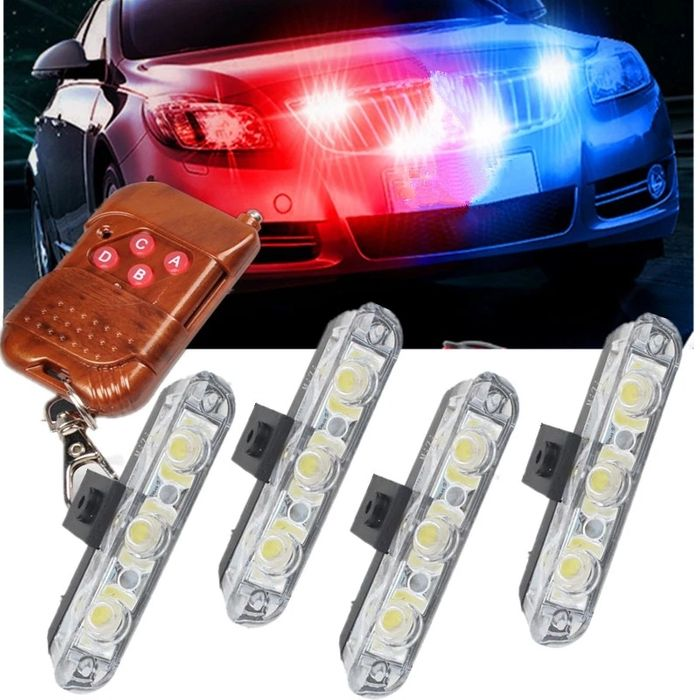 Lumini Avertizare LED - Stroboscop Rosu/Albastru (Super Luminos)