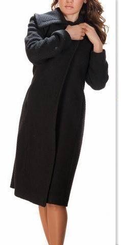 Palton din stofa de lana boucle, negru, S