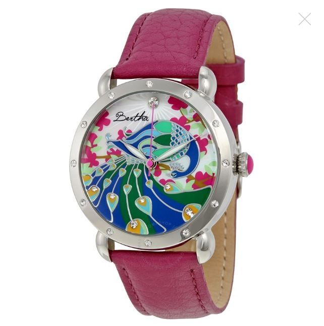 Ceas Bertha Didi Peacock Mother of Pearl Purple Leather