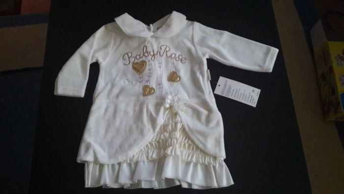 Rochie alba, Baby Rose, 74 cm, 8-9 luni, NOUA