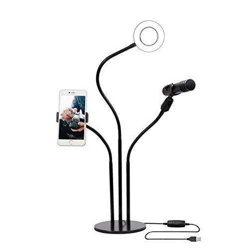 Гибкий штатив- держатель телефона, микрофона с лампой для блогеров