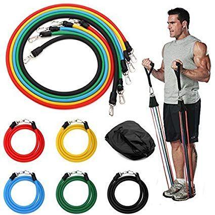 Ластици за тренировка в комплект от 8в1 части с калъф - фитнес ластици