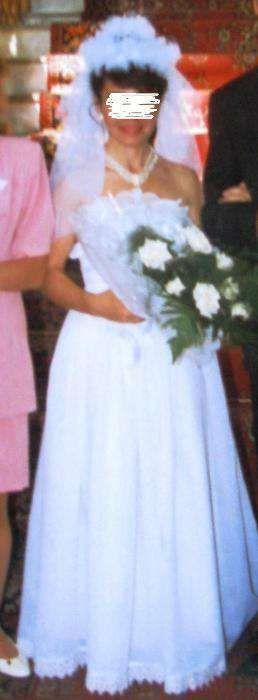 Свадебное платье с фатой 42-44 размер