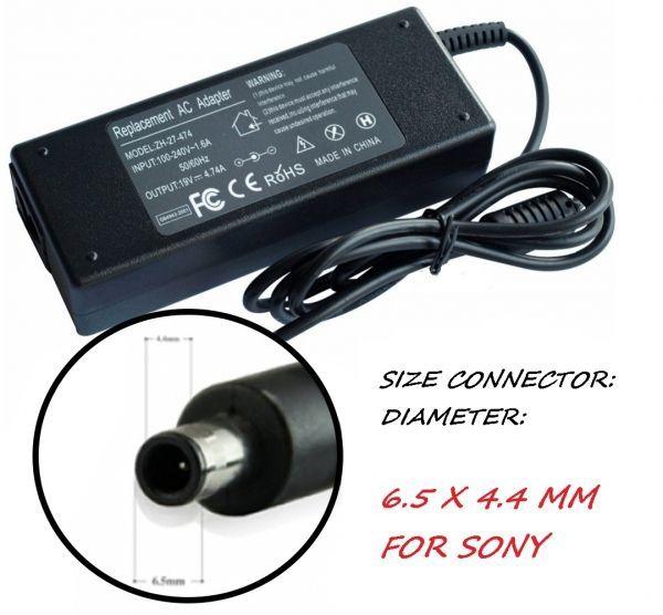Зарядно за лаптоп 220V 90W/19.5V 6.5mm X 4.4mm. Модел ZH-JDCC. За Sony
