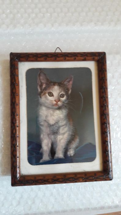 Mini tablou pisicuță cu ramă din lemn