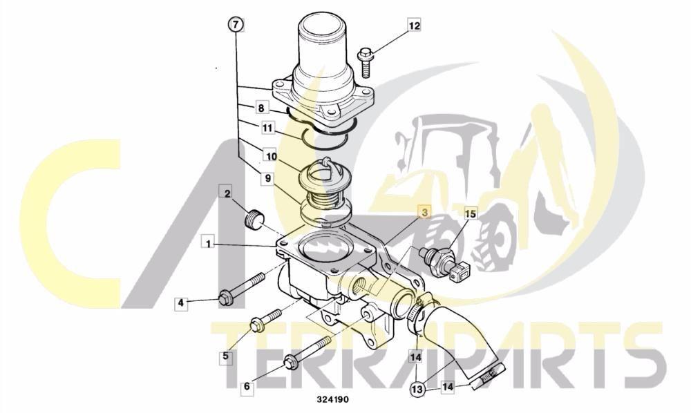 Garnitura, Carcasa termostat AR, AK jcb 3cx, 4cx