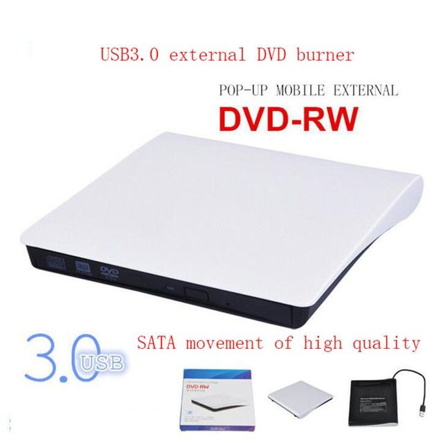 DVD RW extern pentru laptop-uri Notebook Desktop PC Portabil alb