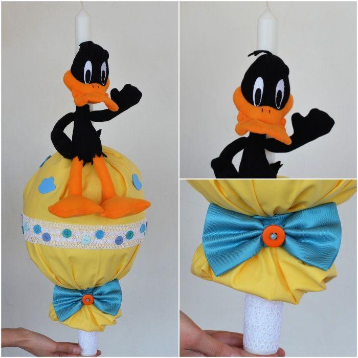 Lumanare Looney Tunes cu jucarie Daffy Duck si lenjerie patut
