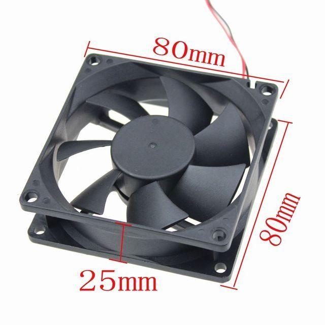 Вентилатор 80x80x25 мм. 3 пинa или 4 пина молекс от захранването Globe