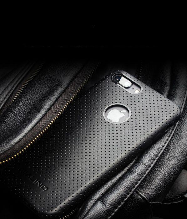 Husa piele perforata Qialino dedicata iPHONE 8 PLUS fara clapeta,negru