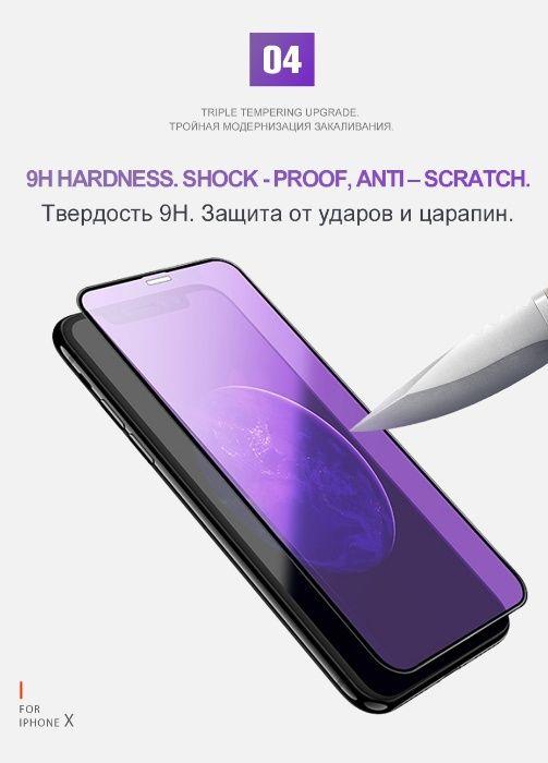 Iphone X XS 10 Folie Sticla Securizata 5D Curbata Albastra Anti Reflex