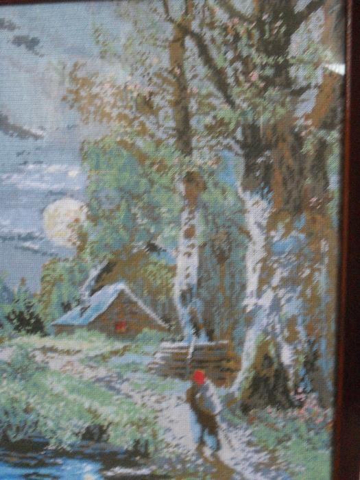 Гоблен Ръчна изработка - Пролетна нощ- дървена рамка