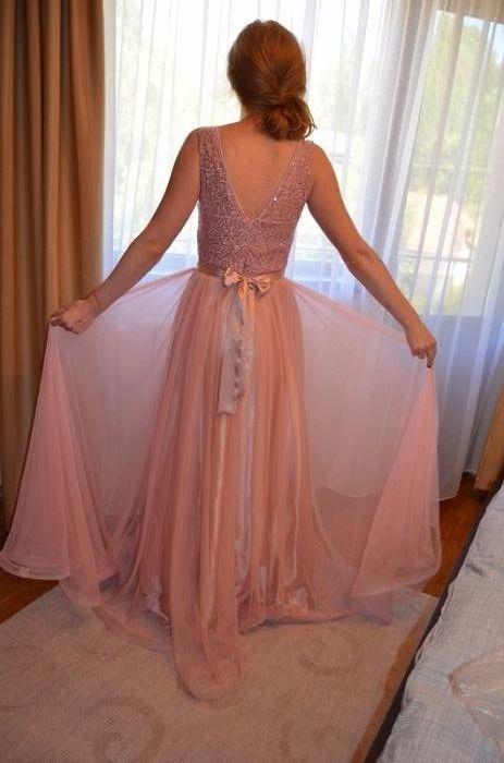 Rochie de seara/ ocazie roz pudra
