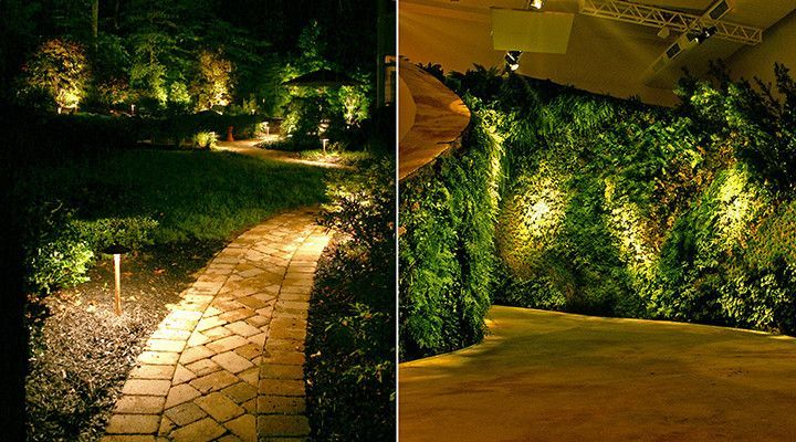 Serviços de iluminação para jardins e áreas externas.