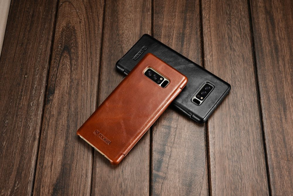 Husa lux piele naturala vintage iCARER, SAMSUNG GALAXY NOTE 8, dif cul