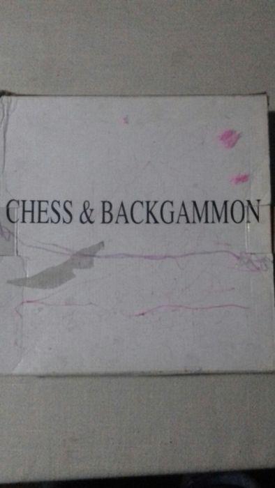 Joc şah și dame cu piese și tablă de joc din sticlă