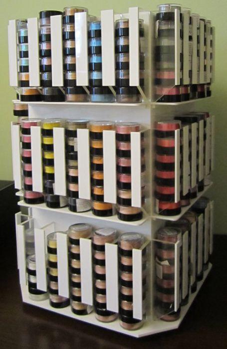 Carusel cosmetice sistem expunere/depozitare farduri magazin/salon