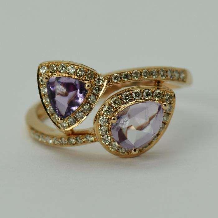 Inel din aur roz 14k cu ametiste si diamante (Cod: 5551)