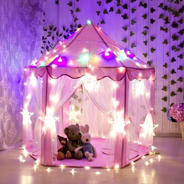 Casuta casa Joca Cort castel printese copii tarc joaca Roz