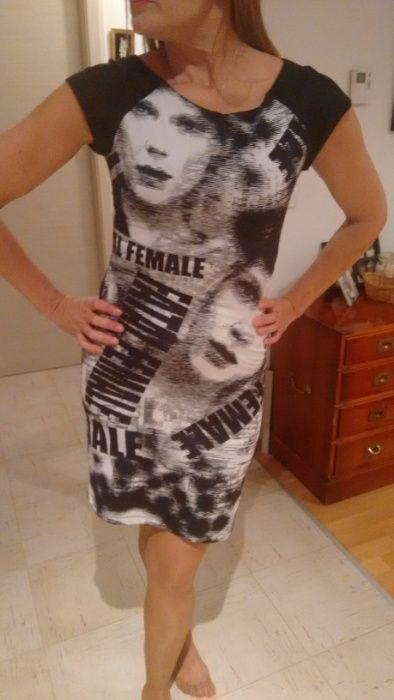 Rochie Nissa mulata cu spatele gol, masura Medium, imprimeu, alb+negru