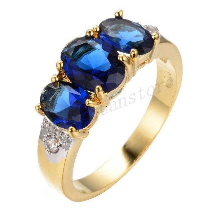 GR202,inel placat aur 18k, ideal logodna, zircon alb/albastru