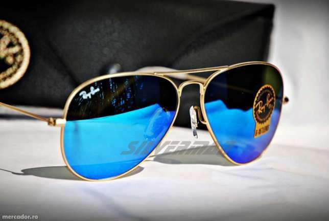 Ochelari de soare Ray Ban Aviator RB3025 112/17 albastru oglinda