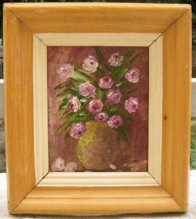 Tablou Natura statica cu flori roz pictura ulei pe mucava 29x33cm