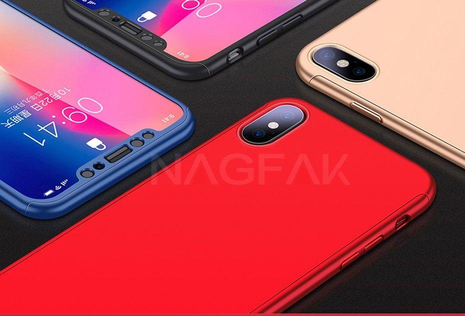 Iphone X XS 10 - Husa 360 Plastic Fata Spate Folie Sticla Securizata
