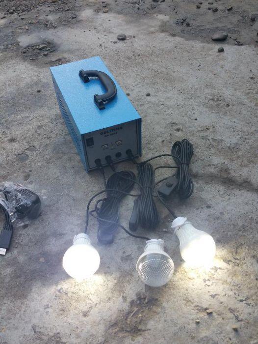 Kit Coplet Solar 3 Becuri 12V +panou solar 20W ( curent 220V -100W)