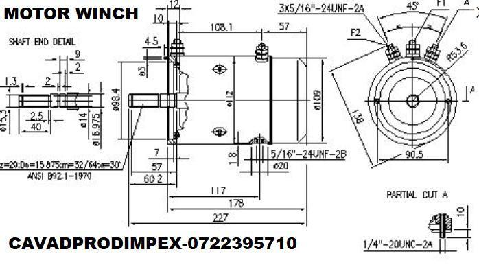 Motor WINCH 12V, 1,6KW sens ACW-CW,ax canelat Bucuresti - imagine 2