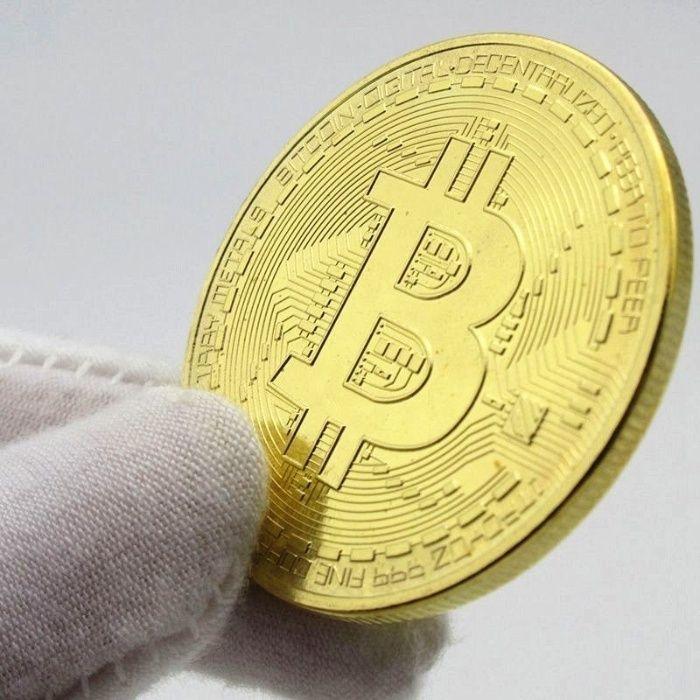 Колекционерска биткойн/bitcoin монета с позлата/посребряване
