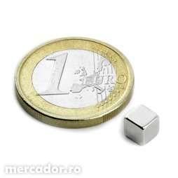 Magnet neodim puternic Forta 1,1 Kg latura de 5 mm neodymium,neodym