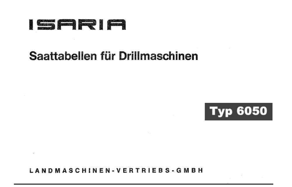Carte tehnica, manual tabele semanatoare Isaria 2-3m ,tabel de semanat