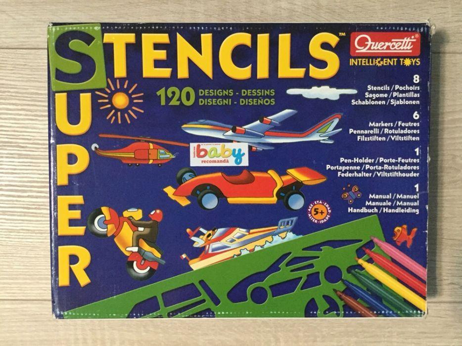 Sabloane pentru desen Super Stensil, penar carioci