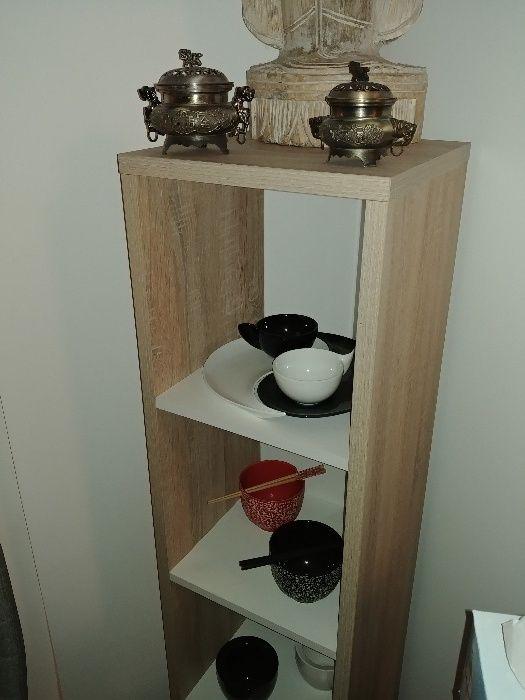 Biblioteca/etajera/comoda tv/separator camera - stejar cu rafturi albe