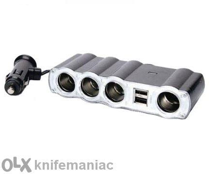 Разклонител за запалка 12v 1 към 4 + 2бр. USB