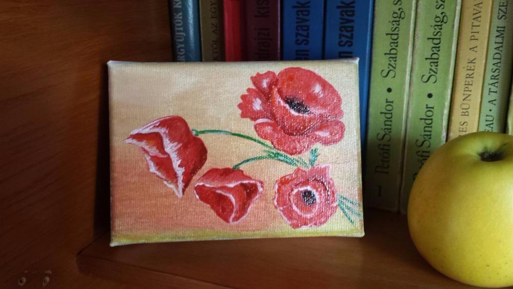 Tablou pictura flori de mac pe panza