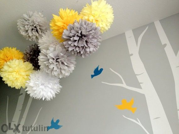 Много красива и евтина декорация помс цветя топки от тишу хартия