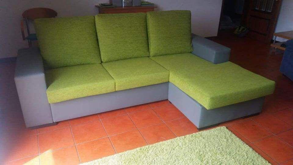 Sofá em modelo L, cores mix