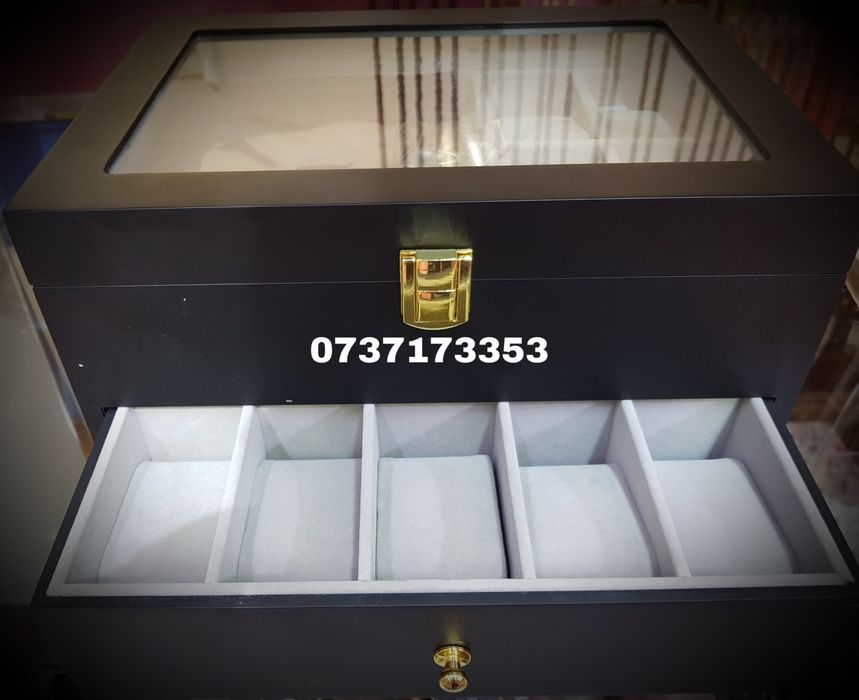 Cutie pentru depozitare 20 ceasuri,lemn negru