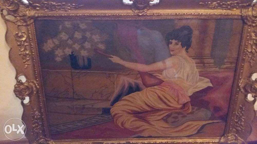 """Superb goblen, de 100 ani, """"Femeie cantind la lauta"""", rama exceptional"""