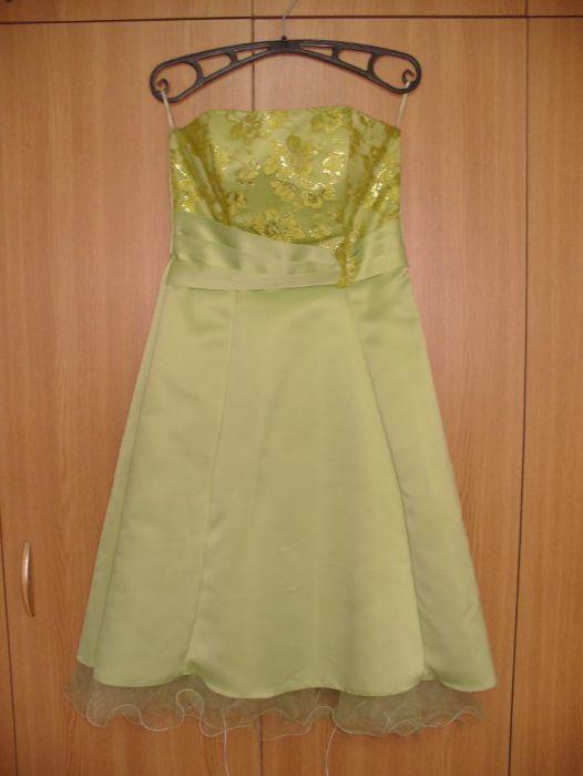 Rochie de gala din tafta verde fistic