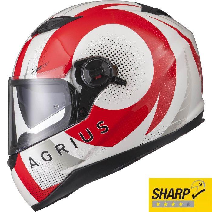 Casca Moto NOUA cu ochelari de soare, 4* Sharp, Agrius Warp Alb Rosu