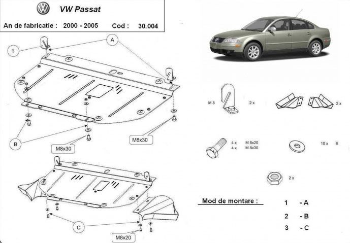 Scut metalic pentru motor VW Passat 2000-2005 - otel 2mm
