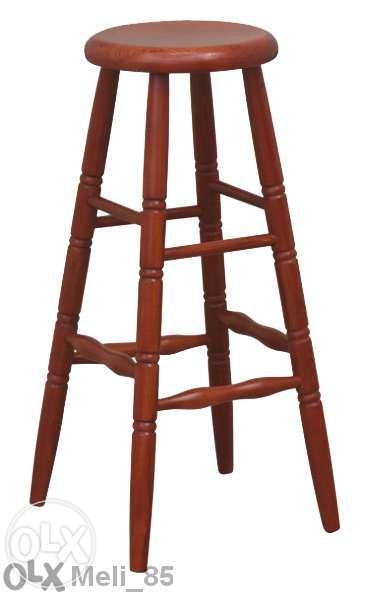 Дървен бар стол без облегалка от Бук